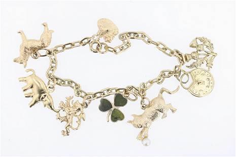 14K YG Charm Bracelet with 8 Charms