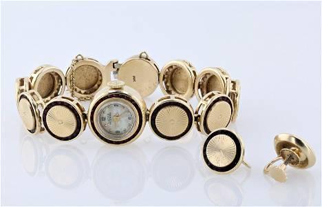 14KYG Lucien Piccard Garnet Watch and Earring Set