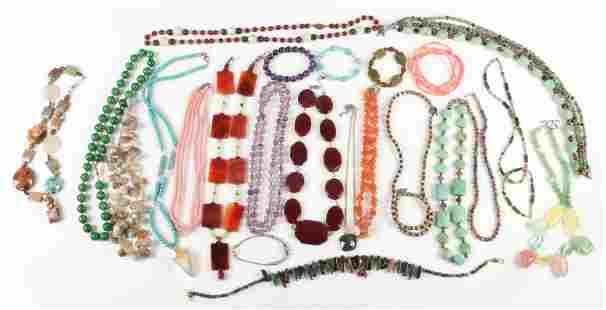 Gemstone Beaded Necklace Lot