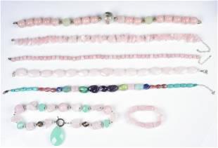 (7) Pc Rose Quartz Jewelry Lot