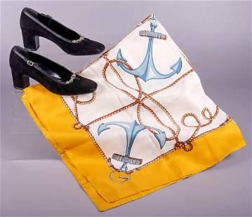 Silk Nautical Gucci Scarf and Pumps
