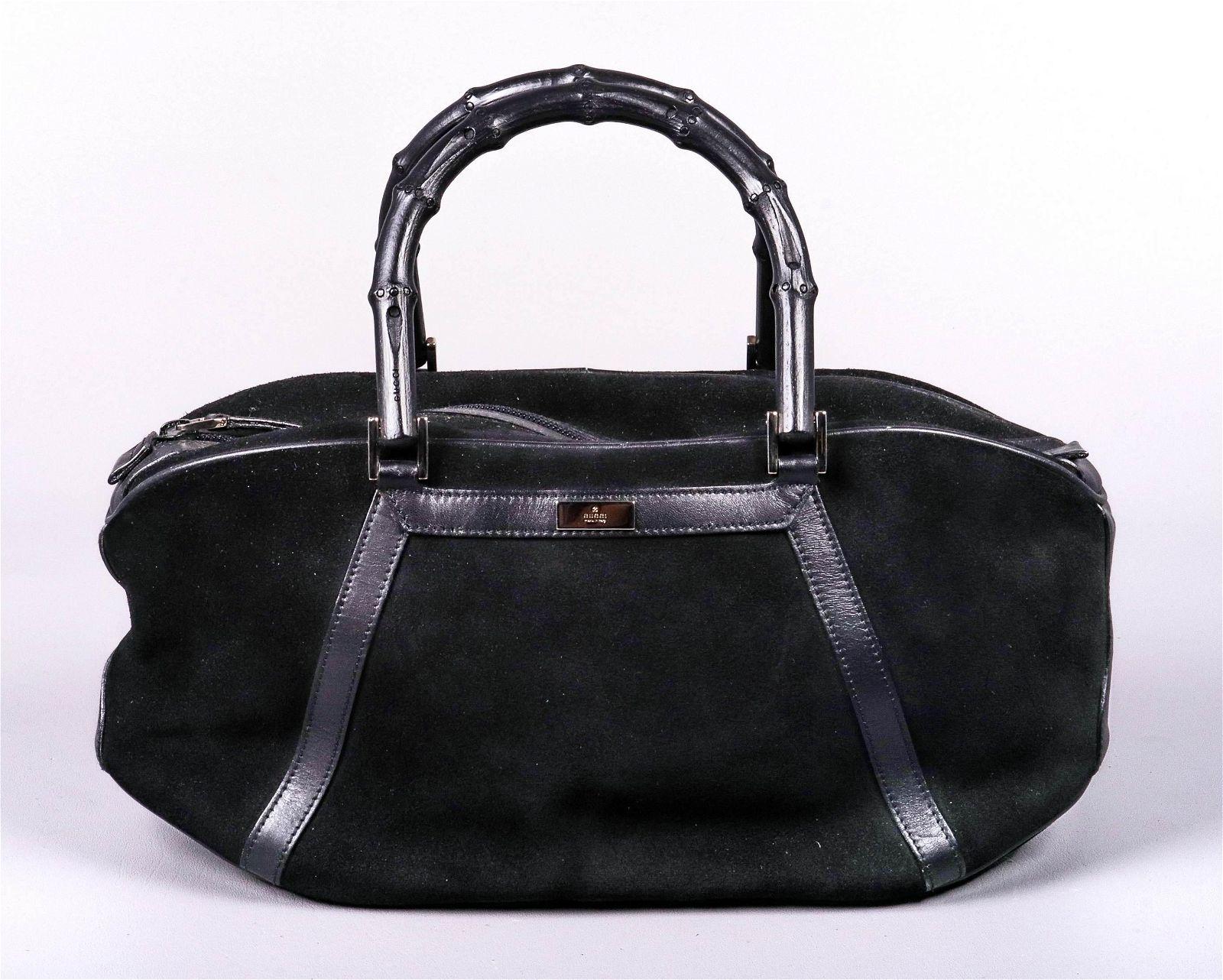 Vintage Gucci Black Suede Bamboo Handled Bag