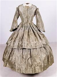 1850's Green Silk Hand Sewn Gown