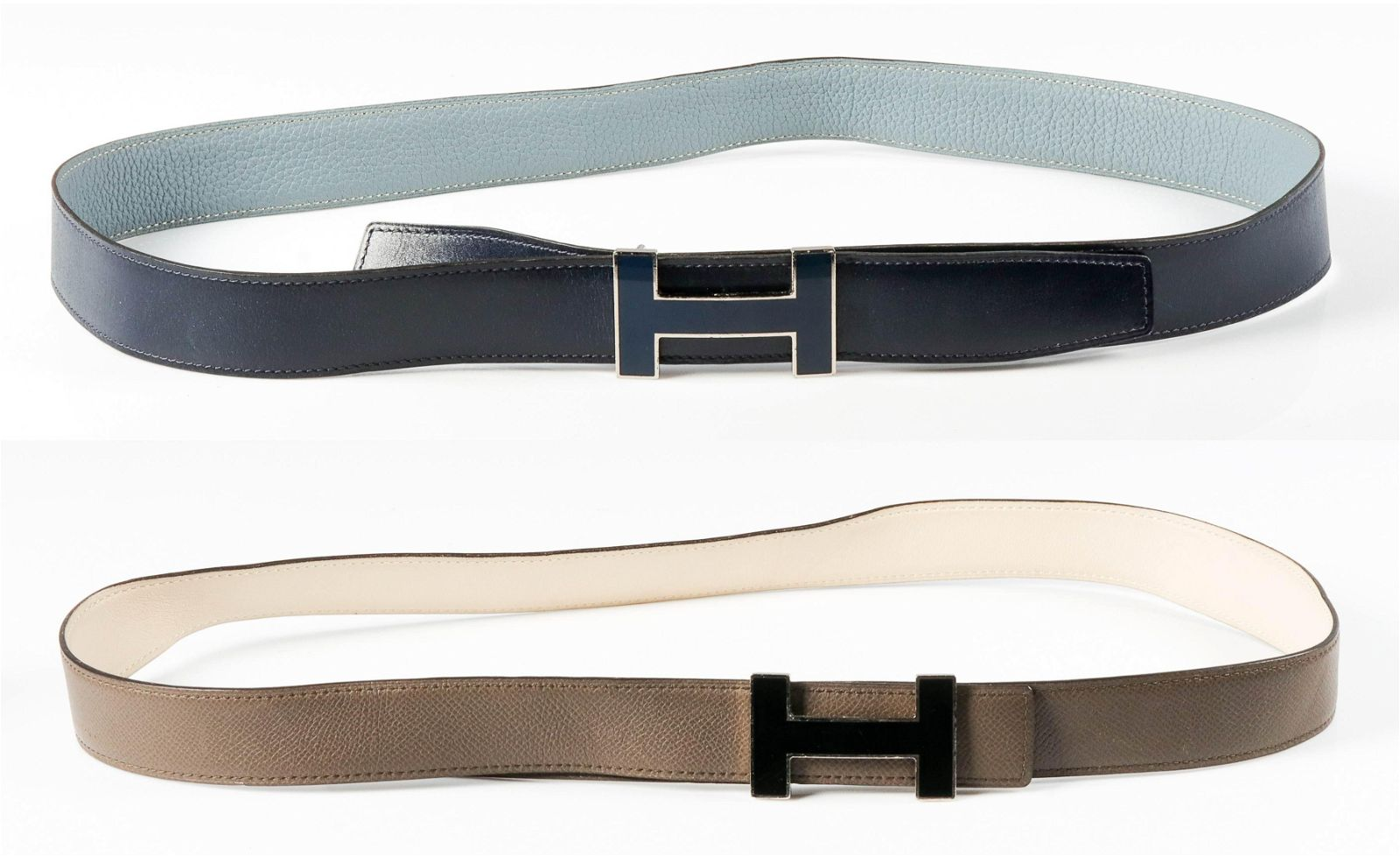 (2) Hermes Quizz Enamel and Leather Belts