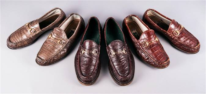 (3) Pair Gucci Textured Leather Horsebit Loafers