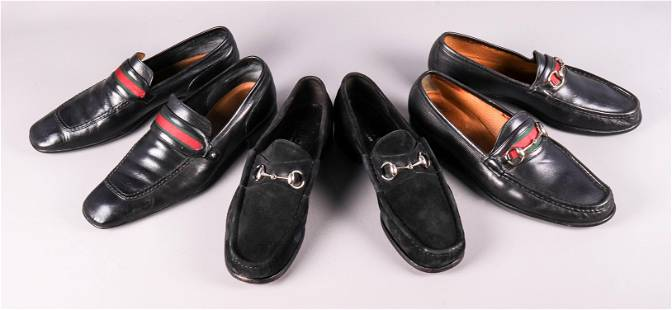 (3) Pair Leather Gucci Loafers