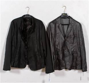 (2) Giorgio Armani Leather and Shearling Jackets