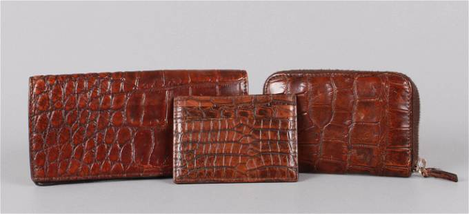 (3) Gucci Textured Leather Wallets