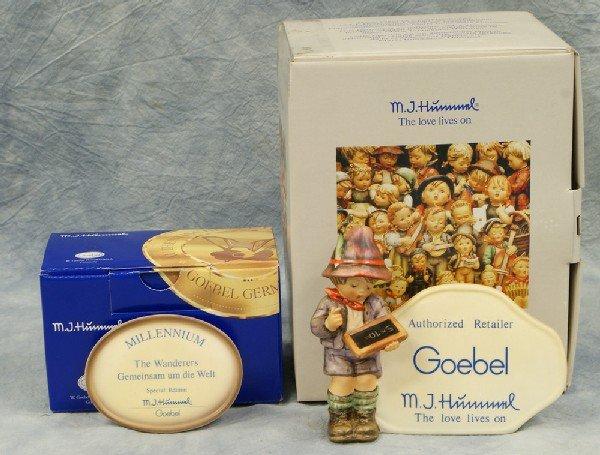 """5: 2 Hummel figurines: Dealer's Plaque - 460, 5"""" x 6"""";"""