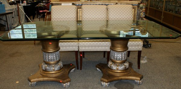 14: 8 pc Century modern dining set c/o plate glass top