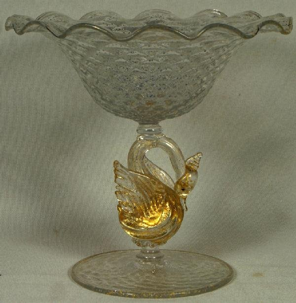2: Silvered & ruffled Venetian glass swan compote, 6 1/