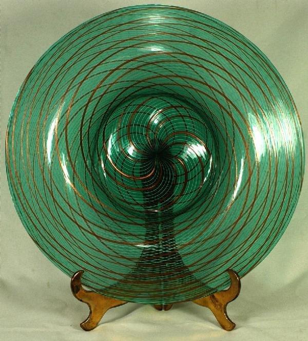 """3: Venetian glass bowl marked Reticello, 12 3/4"""" dia, c"""
