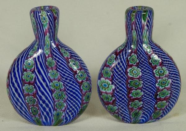 """4: Pr of Venetian glass Millifiori vases, 4 1/4"""" h, 20t"""