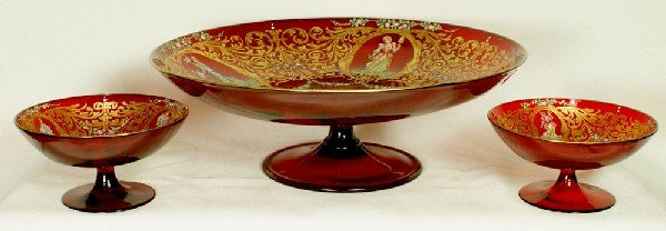 6: Venetian glass tazza with 6 footed bowls, richly ena