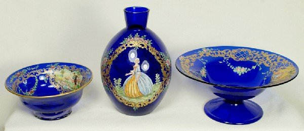 8: 2 pcs Venetian enameled and gilt cobalt glass, foote