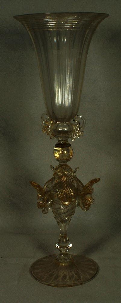 """11: Tall Venetian glass goblet vase, 12"""" h, late 19th c"""