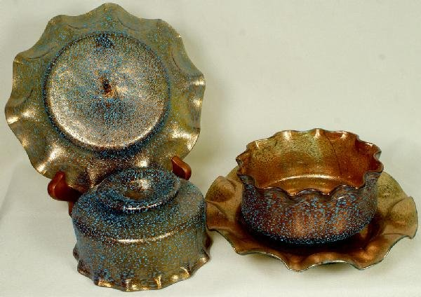 "12: Pr of Venetian ""granite"" finger bowls and plates, t"