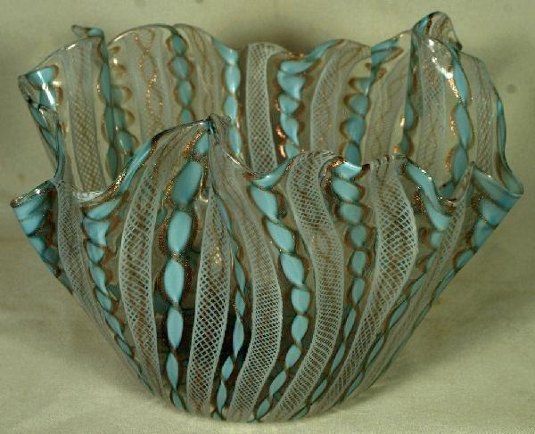 """13: Venetian Latticino ruffled bowl, approx 8 1/2"""" dia"""