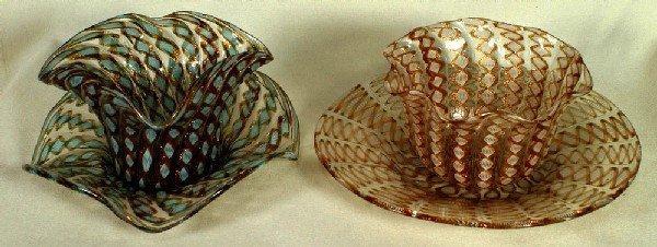 17: 2 assorted Venetian Latticino glass finger bowls an