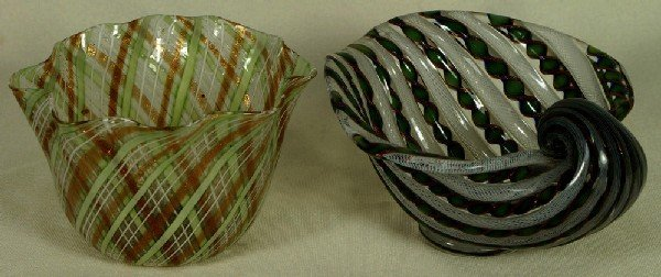19: 2 assorted Venetian glass Latticino pcs, a small ru