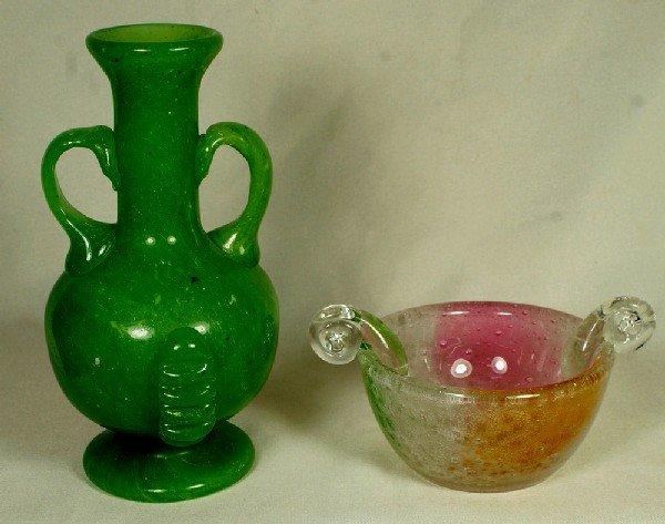 """21: 2 Venetian glass pcs, a """"paleguso"""" bowl and an opaq"""