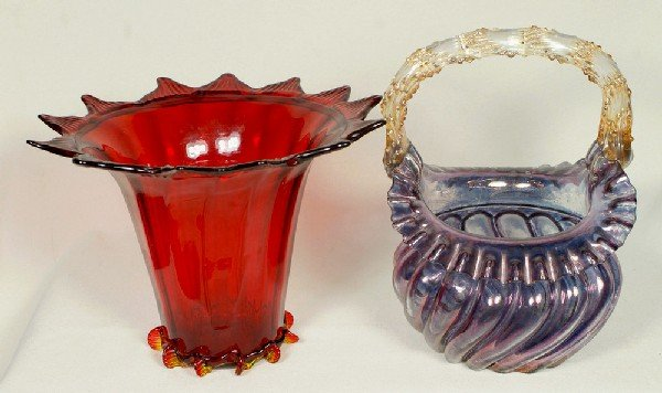 "22: Red Venetian glass vase, approx 5 1/2"" h and a Vene"
