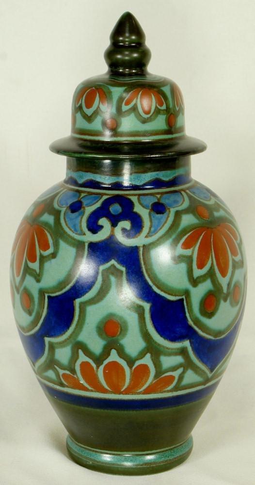 67: Dutch pottery Gouda style cupboard ginger jar, 10 1
