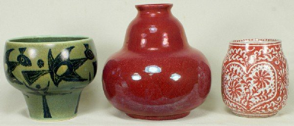 116: 3 unusual Delft vases, one in a red glaze, one wit