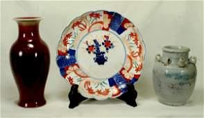 149: 3 Asian ceramics c/o a Japanese Imari plate, 8 1/4