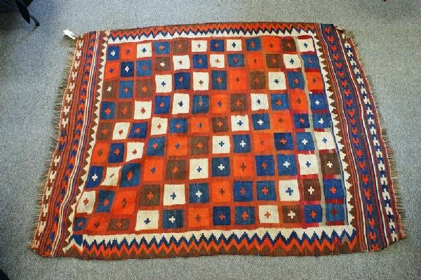 "1000: Kilim carpet, approx 6' x 7' 8"", 20th c"