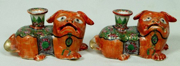 1267: Pr of Chinese porcelain foo dog candlesticks with
