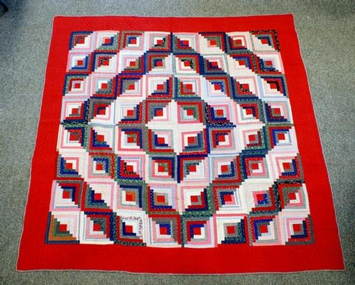 "1021: Diamond log cabin quilt, red border, 82"" x 81"""