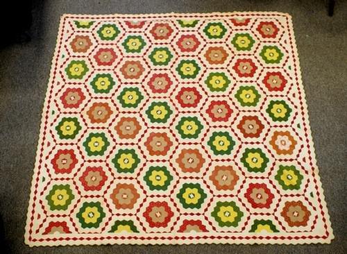 "1023: Hexagonal snowflake block pattern quilt, 88"" x 88"
