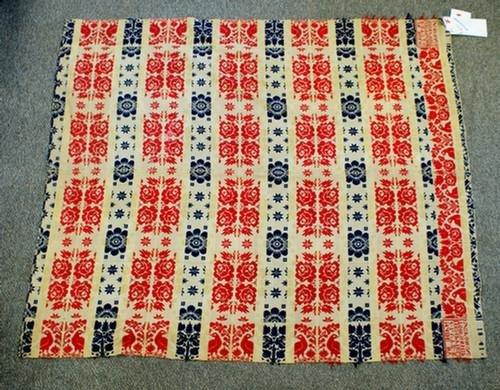 """1024: Red and blue coverlet signed in corner block """"Mad"""