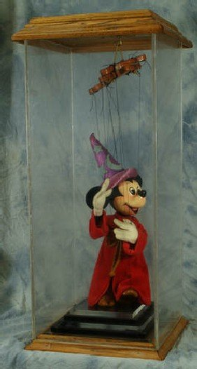 Marionette Mickey Mouse, Oak & Lucite Case, 29 3/4""