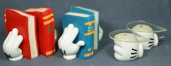 300: (4) Mickey Mouse hand items, 2 pair of bookends &