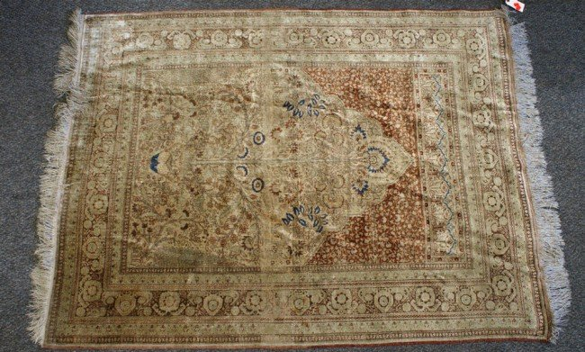 4: 4.0 x 5.5 silk Tabriz prayer rug,
