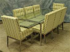 116 9 pc chrome and glass modern dining room set ensem