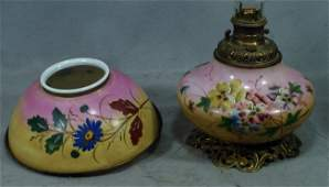 304 Floral painted Victorian parlor lamp missing the