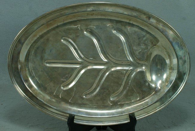 "12: Sterling silver tree and well platter, 18"" x 12 1/2"