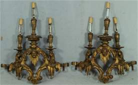 334 Pr carved giltwood 3 arm wall sconces electrified