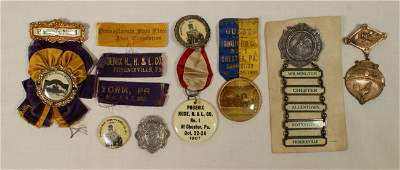 405 7 assorted fire related badges and buttons Circa