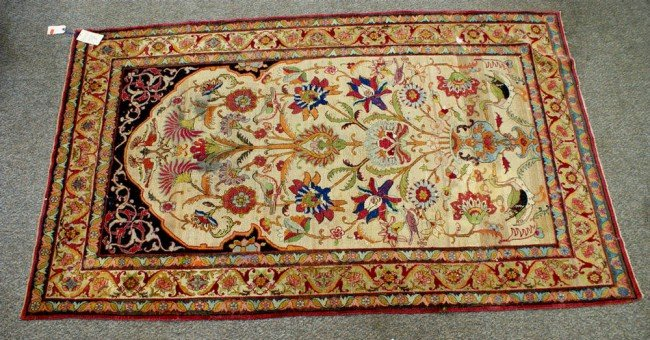 5: 4.2 x 7.2 Persian garden rug with birds and flowers,