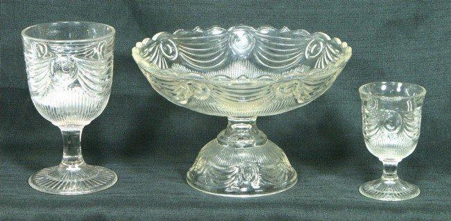 "121: 3 pcs Lincoln Drape flint pattern glass, 8 1/2"" co"