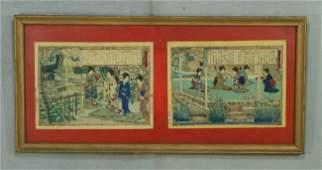288D 3 Japanese woodblock printsdiptych geisha Sam
