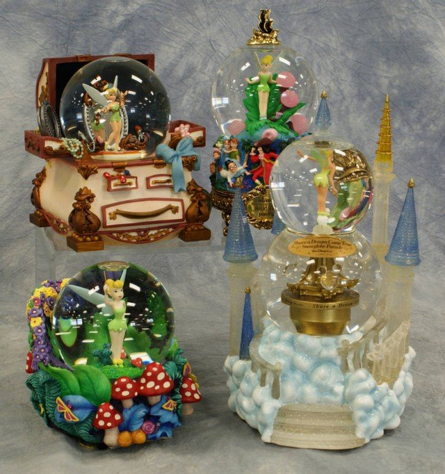 """9: (4) Tinker Bell snow globes, including """"Share  a Dre"""