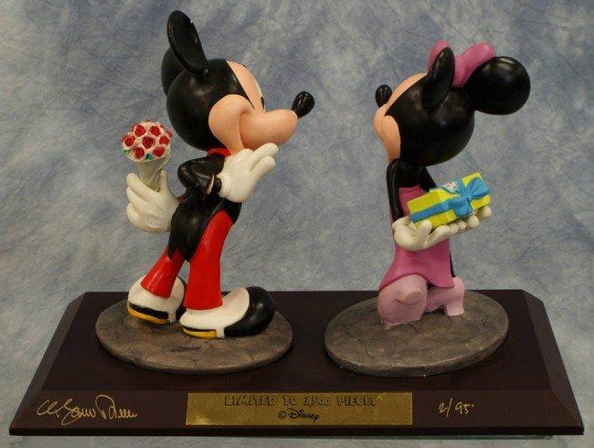 13: A signed double figurine, Mickey and Minnie celebra