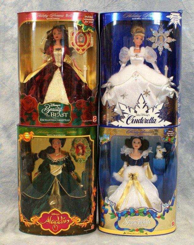 22: (4) Mattel Princess dolls, all holiday themed, Cind