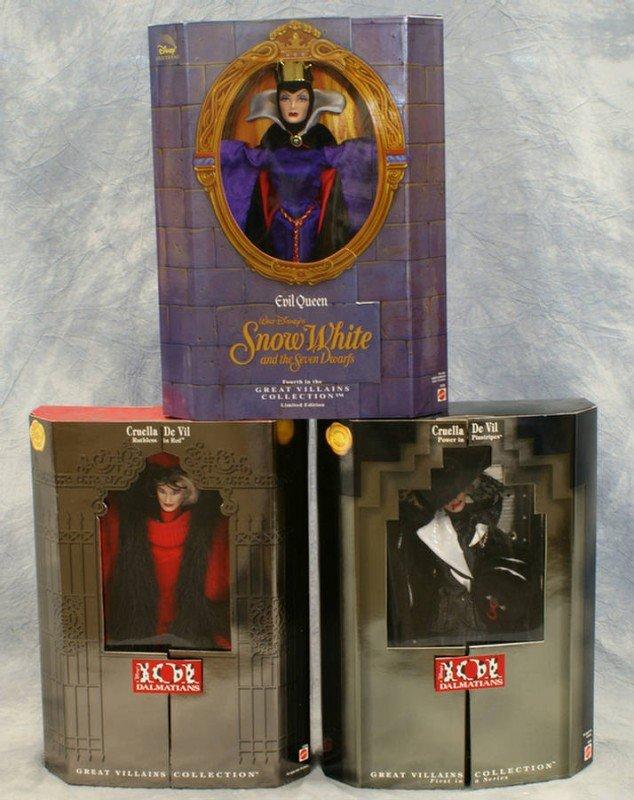 24: (3) Mattel Great Villains Collection dolls, Snow Wh