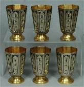 56: Set of six Russian silver gilt and niello vodka cu